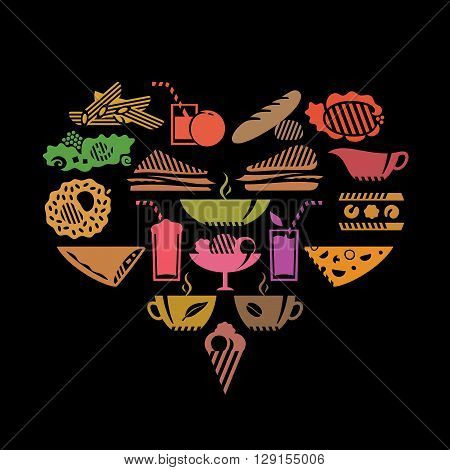 Foods and drinks in heart shape. Colored on black.