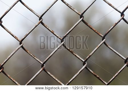 Aged mesh fence. aged metal texture, macro view