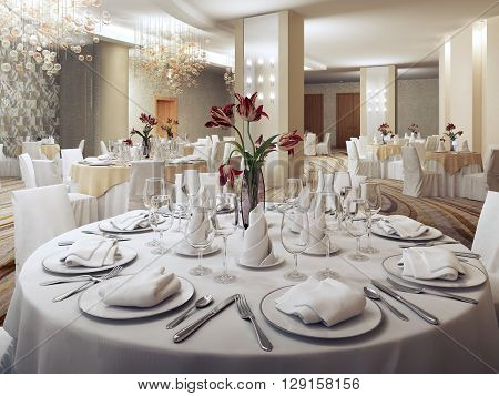 Private party ballroom in restaurant. Round served tables with red flowers. Nobody. 3D render