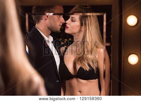 Sexy Woman Seducing Handsome Man