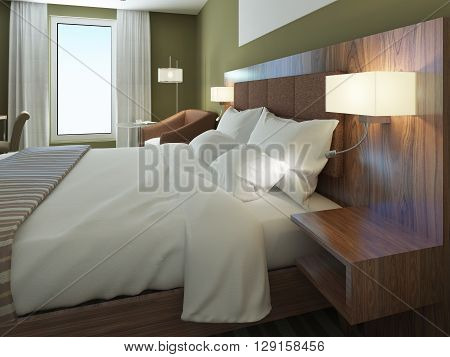 Minimalist hotel room with beautiful dressed double bed. Brown bedhead wooden wall system with sconces. 3D render