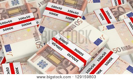 3D rendering of 50 Euros banknote bundles pile, closeup background