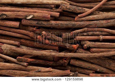 Macro closeup background texture of Organic Manjistha or Indian madder (Rubia cordifolia).