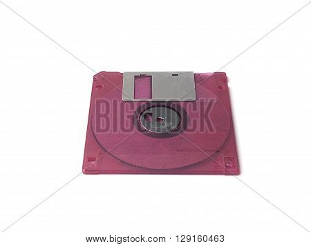 Fuchsia pink floppy disk or diskette isolated on white background floppy disk is magnetic computer data storage