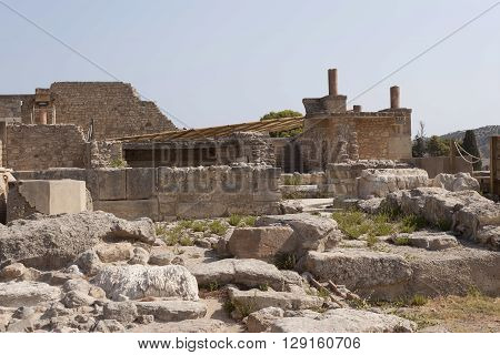 Ruins of Knossos Palace south of Heraklion - very popular among tourists visiting Crete