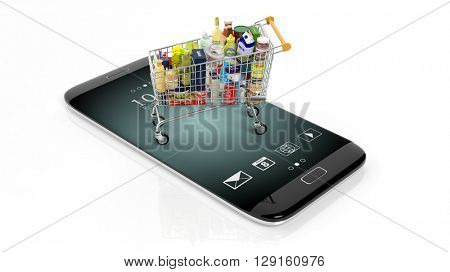 3D rendering of supermarket cart on smartphone's screen, isolated on white background.