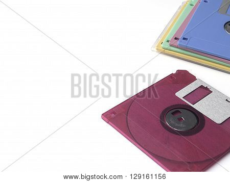 colorful floppy disk or diskette isolated on white background floppy disk is magnetic computer data storage