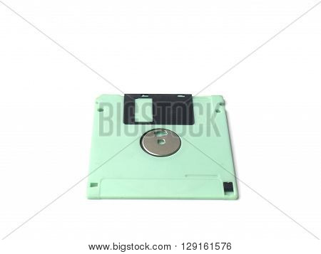 Light Green floppy disk or diskette isolated on white background floppy disk is magnetic computer data storage