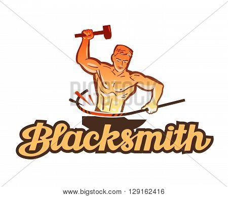 blacksmith vector logo. smithy or industry icon
