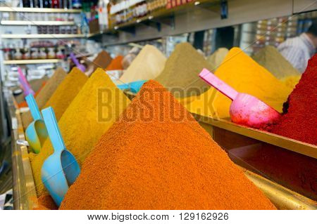 Various spices in a traditional Moroccan shop in the souk (market) of Marrakech.