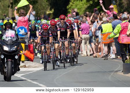 BEUNINGEN THE NETHERLANDS - MAY 7 2016: Cyclists of Team Giant-Alpecin during the second stage of Giro d'Italia 2016