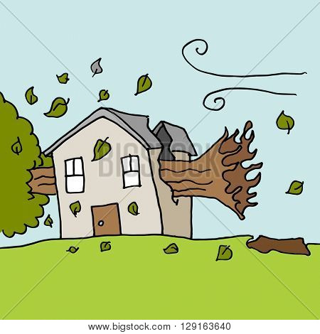 An image of a trees falling on house on a windy day.