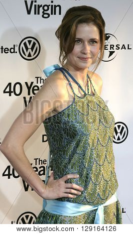 """Jenna Fischer at the Los Angeles premiere of """"The 40 Year-Old Virgin"""" held at the ArcLight Theatre in Hollywood, USA on August 11, 2005."""