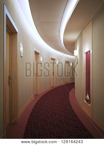 Spacious light hotel corridor in modern style with many doors leading into rooms. Electronic card lock doors. 3D render