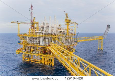 Oil and gas production platform to separates oil gas and condensate and sent condensate to storage boat and gas compressed and sent to on refinery and the last one water injected to water reservoir.