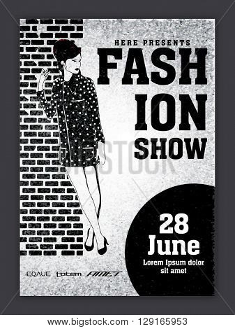 Fashion Show Template, Banner or Flyer design with young girl, Black and white vector illustration.