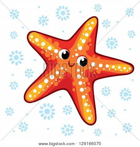 Starfish. Cartoon starfish vector illustration. Sea animal Starfish isolated on a white background.