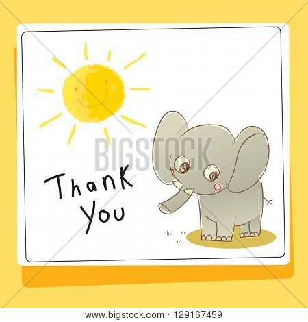 Kids thank you card vector illustration, elephant