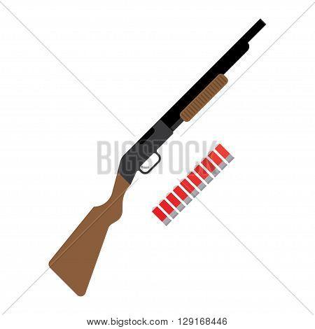 Shotgun flat icon. vector illustration. Flat icon isolated on a white background