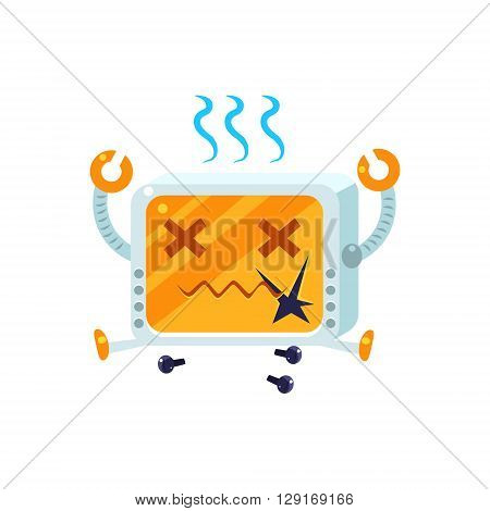 Broken Little Robot Character Simple Flat Vector Icon In Childish Cute Style Isolated On White Background