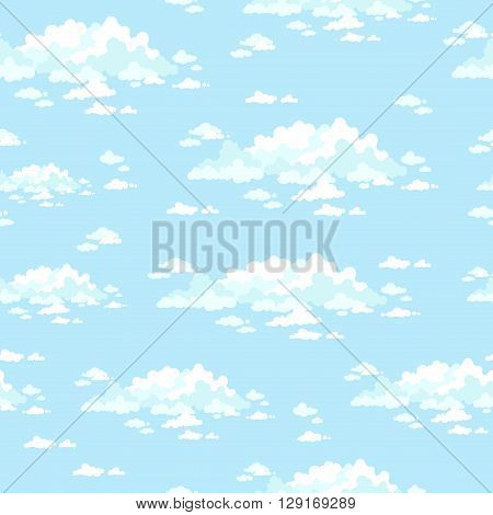 Fluffy clouds in the clear sky. Seamless vector background.