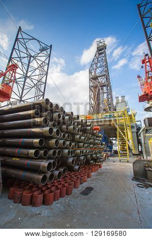 Tubing casing and pup joint of oil and gas well on drilling rig oil and gas platform completion