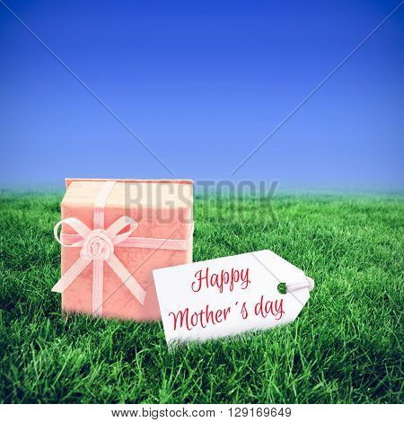 Mothers day greeting against bright blue sky