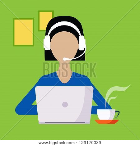 Woman With Hands Free And Lap Top Working Freelance Flat Vector Illustration In Bright Colorful Simplified Infographic Style