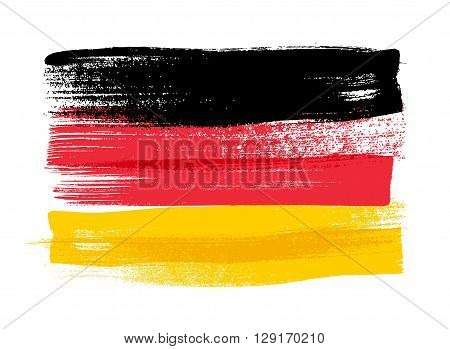Germany colorful brush strokes painted national country German flag icon. Painted texture.