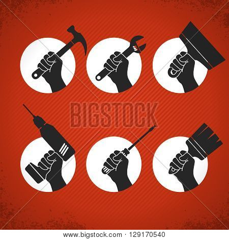 Set of hands with tools. Vector hands holding screwdriver, electric drill, wrench, brush, hammer and putty knife. Home renovation labels on vintage grunge background