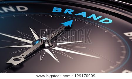 Choosing a brand name concept. 3D illustration of a compass with needle pointing the word brand. Blue and black tones.