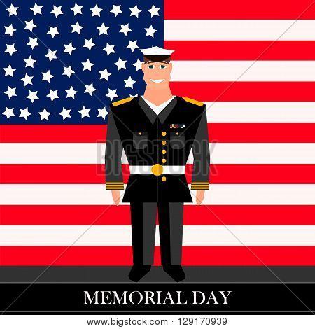 American military officer in the background on american flag in style of cartoon  and flat
