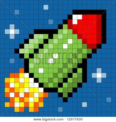 Pixel Rocket Flying Through Space