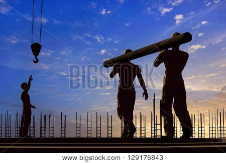 Two workers carry a pipe.3d render