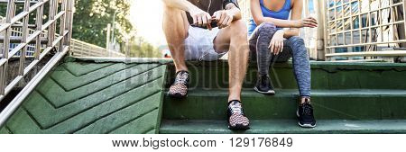 Couple Exercise Jogging Running Park Concept