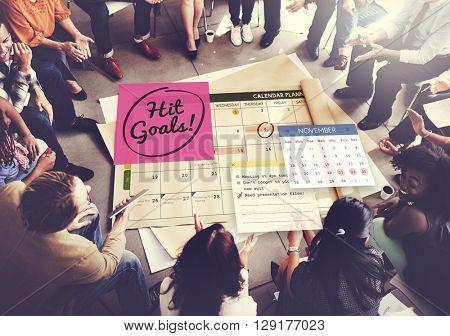 Hit Goals Mission Motivation Target Schedule Concept
