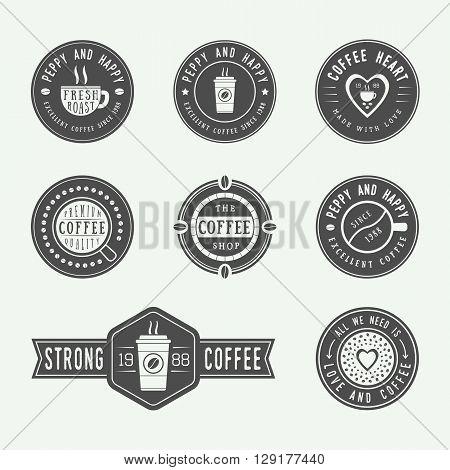 Set of vintage coffee logos labels and emblems. Vector Illustration
