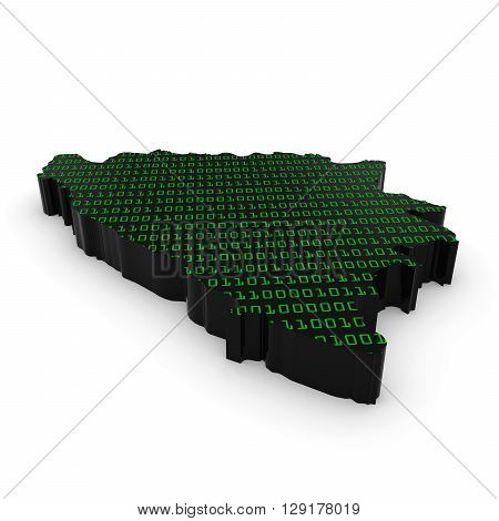Bosnian And Herzegovinan Technology Industry Concept Image - 3D Illustration Map Outline Of Bosnia A