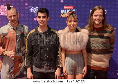 LOS ANGELES - APR 29:  DNCE, Cole Whittle, Joe Jonas, JinJoo Lee, Jack Lawless at the 2016 Radio Disney Music Awards at the Microsoft Theater on April 29, 2016 in Los Angeles, CA