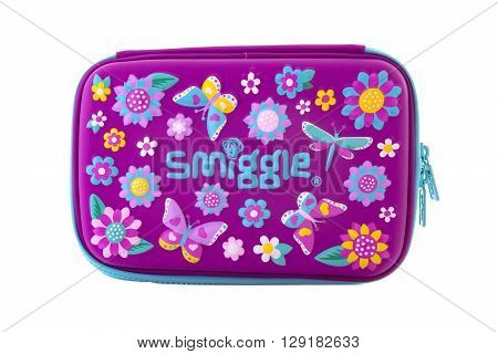 SWINDON UK - APRIL 10 2016: Smiggle case on a white background