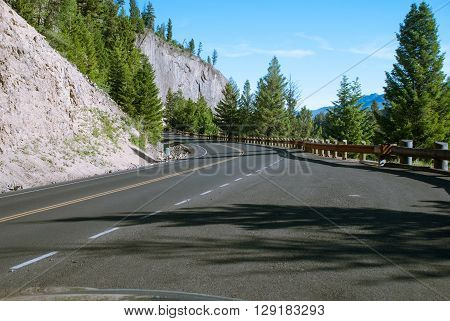Beautiful mountain road in Yellowstone National Park Wyoming USA