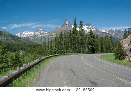 Index and Pilot Peaks on the background of blue sky Wyoming USA