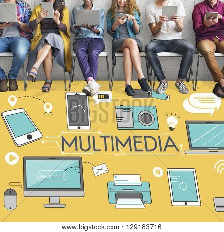 Multimedia Communication Connection Technology Devices Concept