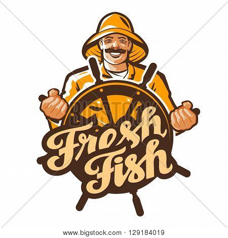 fisherman vector logo. fisher, angler or fishing icon