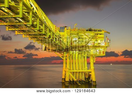 Oil and gas wellhead remote platform produced raw gas and oil then sent to central processing platform to seperate water,gas and condensate ( Crude oil )  then sent to onshore and tanker