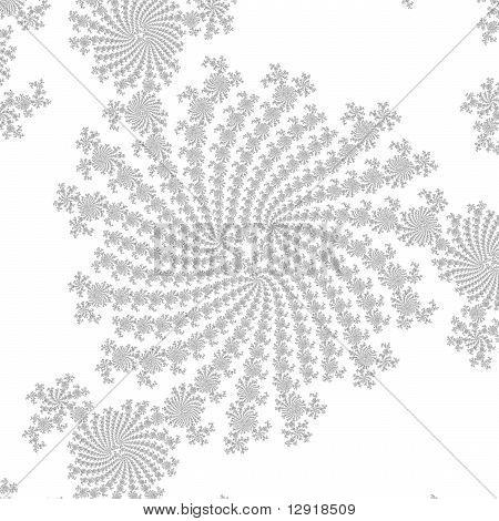 Triangular Fractal Spiral in Black on White
