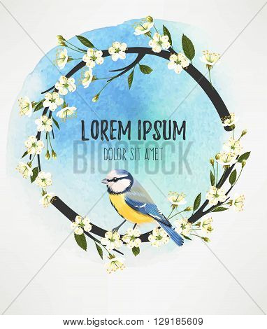 Vector illustration of tomtit on the blooming cherry branch on watercolor background