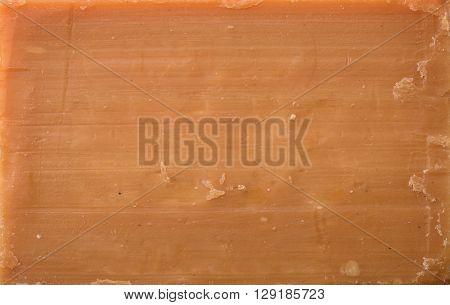 Close up of natural brown soap surface
