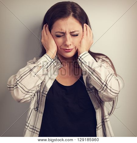 Stressed Unhappy Business Woman Closed Ears The Hands Because Not Want The Hear Any Sounds And Noise