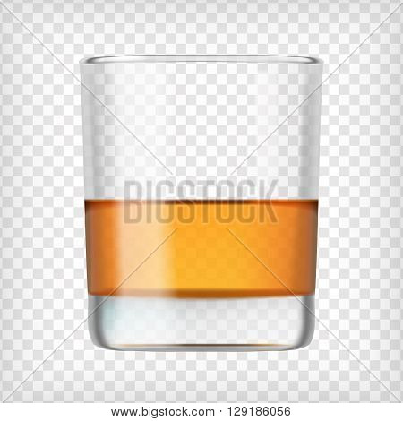 Glass of scotch whiskey. Shot of alcohol. Short glass with beverage. Transparent  photo realistic vector illustration.